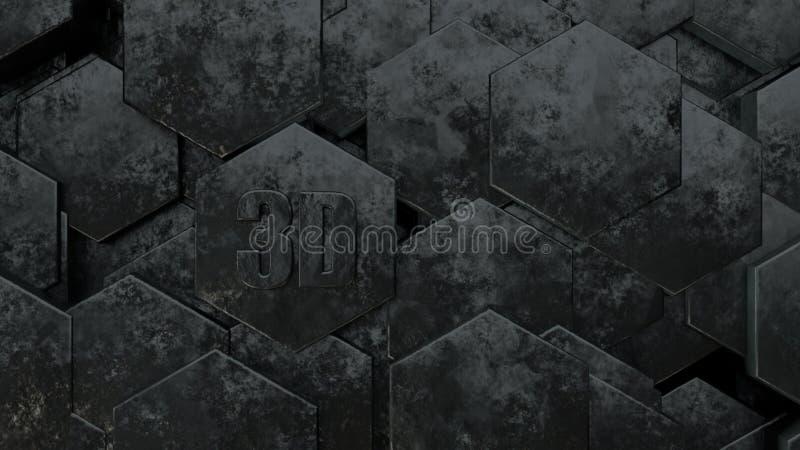 3D illustratie van abstracte futuristische achtergrond van vele verschillende zeshoeken, honingraatmetaal met krassen en oude roe vector illustratie