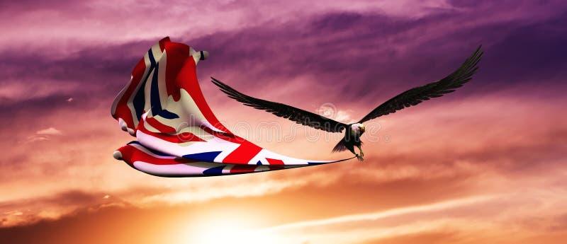 3d illustratie van adelaar en vlag die in de wind drijven stock illustratie