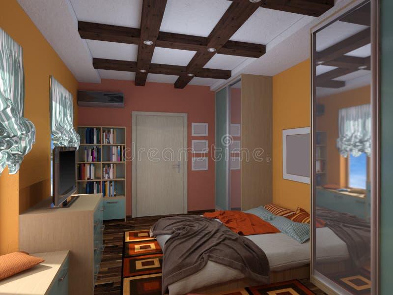 3D Illustratie Van Binnenlands Ontwerp Van Een Slaapkamer In De ...