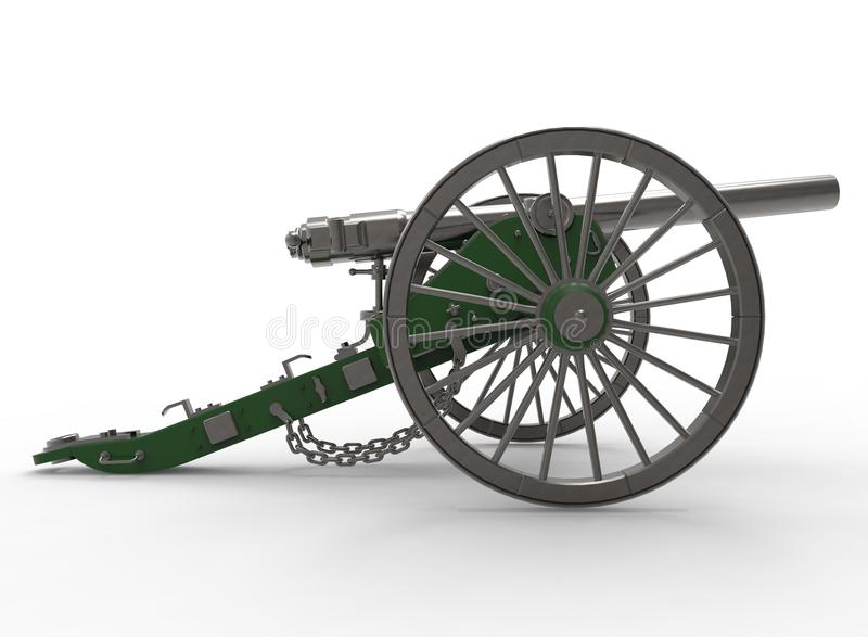 3d illustratie van burgeroorlogkanon vector illustratie