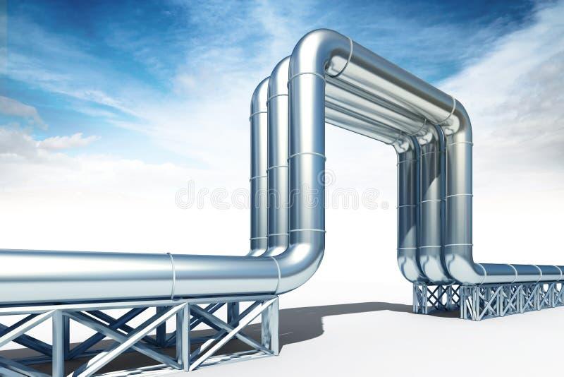 3d illustratie van de aardgasleiding van ANG van de hoge drukolie isolat stock illustratie