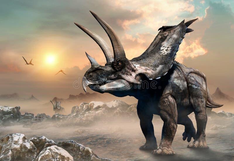 3D illustratie van de Agujaceratopsscène royalty-vrije illustratie