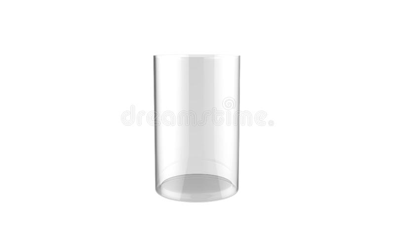 3d illustratie van de decoratieve die vaas van het cilinderglas op een witte achtergrond wordt geïsoleerd royalty-vrije illustratie
