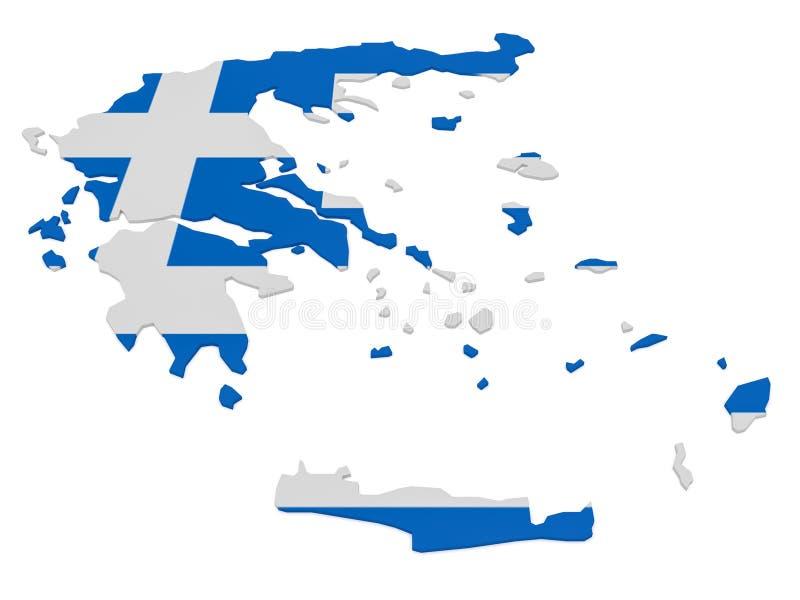 3d Illustratie van de Kaart van Griekenland met Griekse die Vlag op Wit wordt geïsoleerd vector illustratie