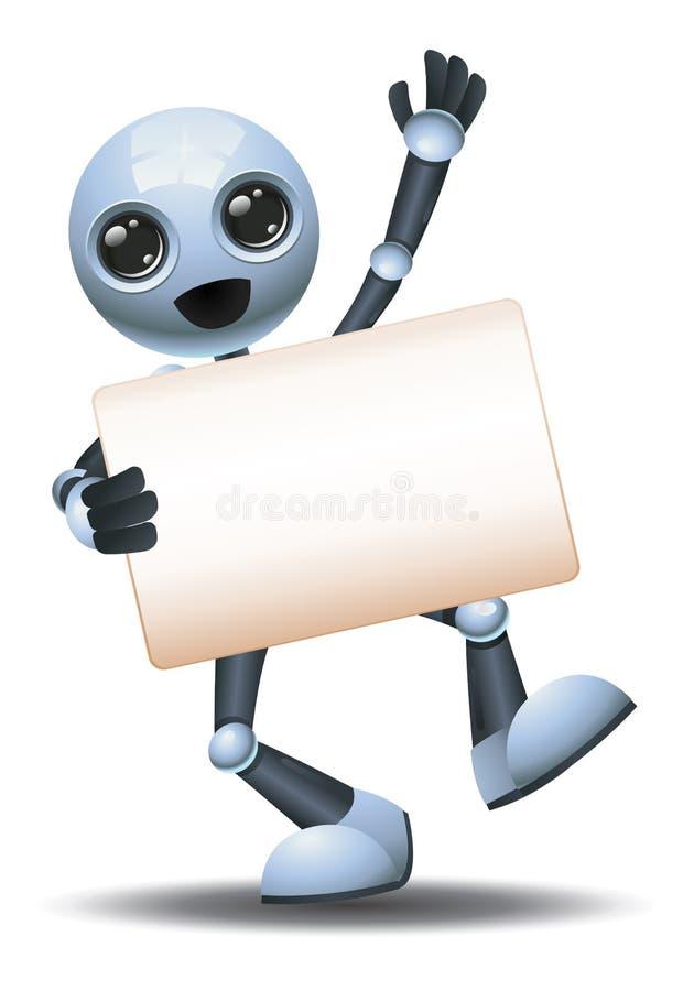 3d illustratie van de kleine robot houdt blanco bordcommunicatie in een vrolijke stemming royalty-vrije illustratie