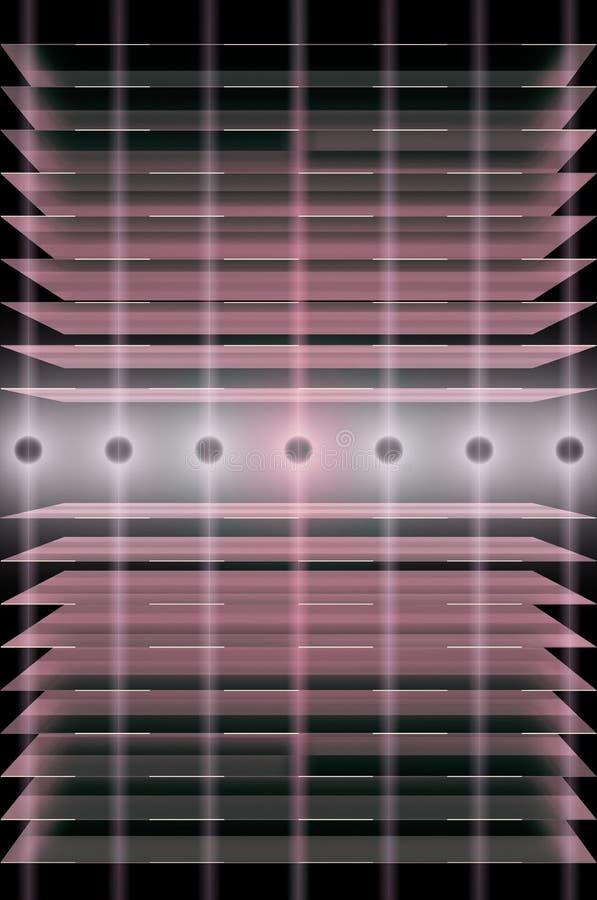 3D illustratie van de lijn van de stroomtransmissie, energienetwerkachtergrond, futuristische transmissie van informatie via lich royalty-vrije illustratie