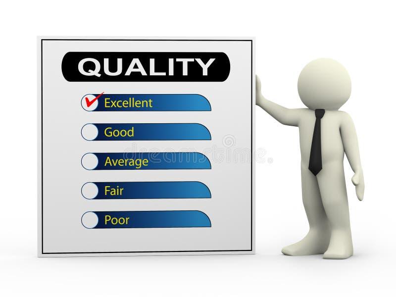 3d zakenman met kwaliteitsonderzoek vector illustratie