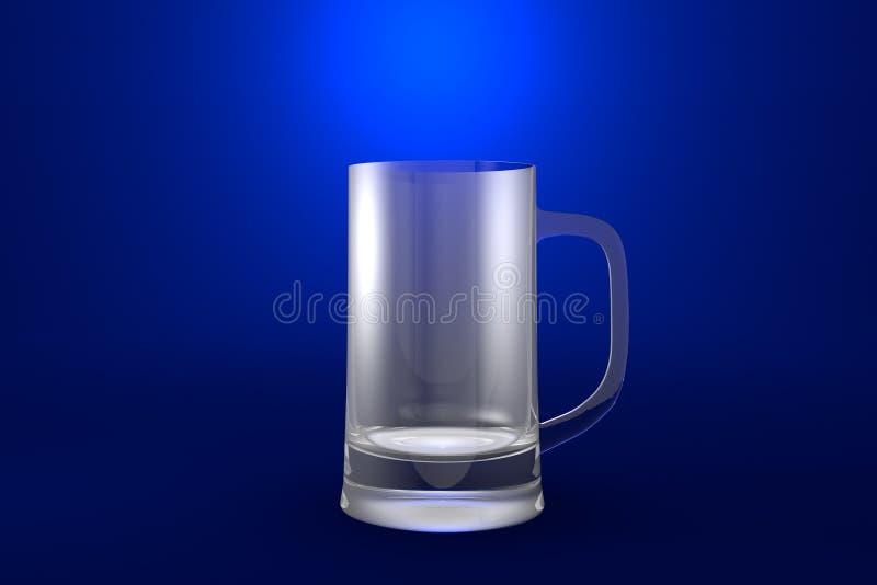 3D illustratie van de mok van de bierkroes op blauwe levendige achtergrond - het drinken het glas geeft terug stock illustratie