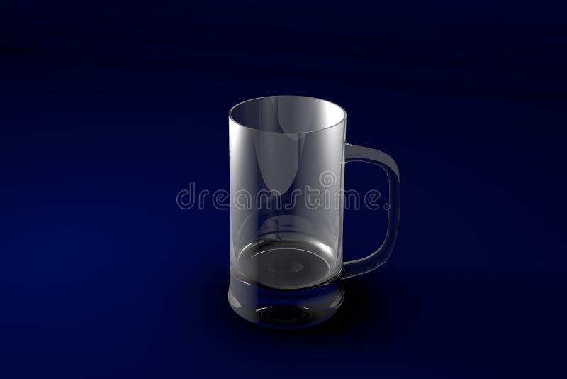 3D illustratie van de mok van de bierkroes op donkerblauwe ontwerpachtergrond - het drinken het glas geeft terug vector illustratie