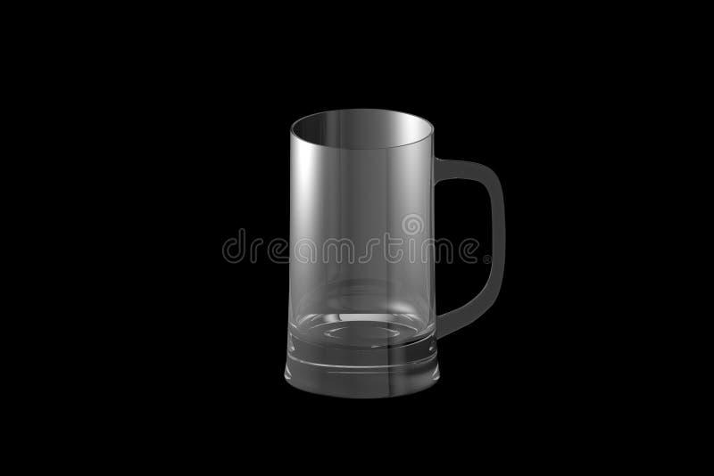 3D illustratie van de mok van de bierkroes op zwarte wordt geïsoleerd - het drinken het glas dat geeft terug vector illustratie