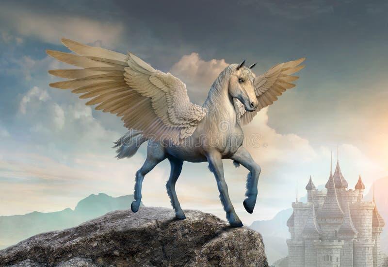 3D illustratie van de Pegasusscène stock illustratie