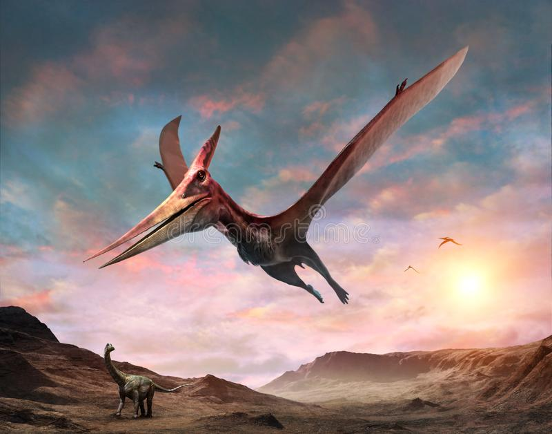 3D illustratie van de Pteranodonscène vector illustratie