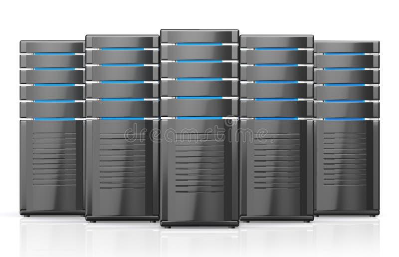 3D illustratie van de servers van het netwerkwerkstation royalty-vrije stock fotografie