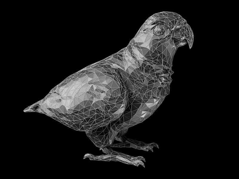 3d Illustratie van de stijl van de papegaaiveelhoek isoleerde zwarte vector illustratie