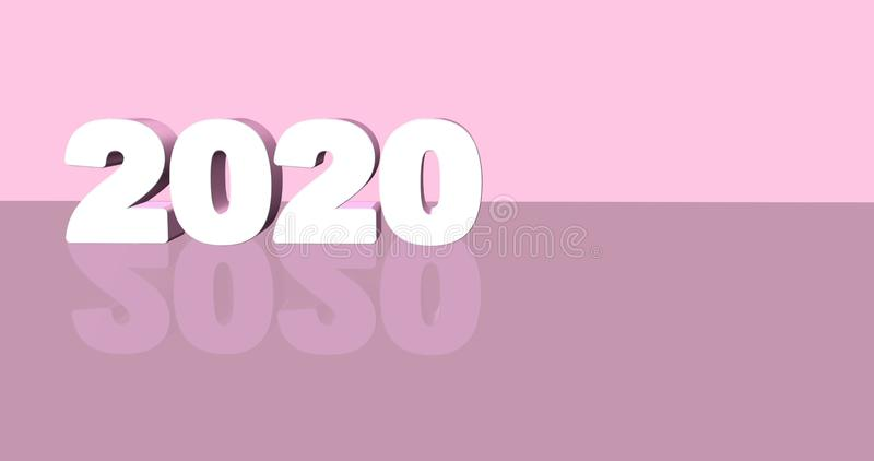 3D illustratie van de tekst van 2020 op twee toonachtergrond Het ontwerp van de Minimalisticstijl met ruimte voor uw tekst het 3d vector illustratie