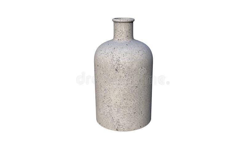 3d illustratie van decoratieve die fles van cement wordt gemaakt op een witte achtergrond wordt geïsoleerd royalty-vrije illustratie
