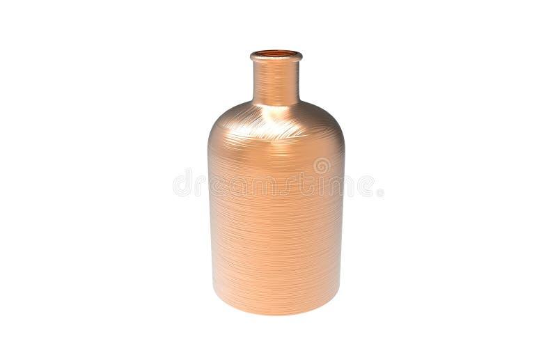 3d illustratie van decoratieve die fles in koperkleur op een witte achtergrond wordt geïsoleerd royalty-vrije illustratie