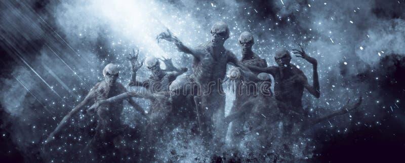 3D Illustratie van demonenmonsters stock afbeeldingen