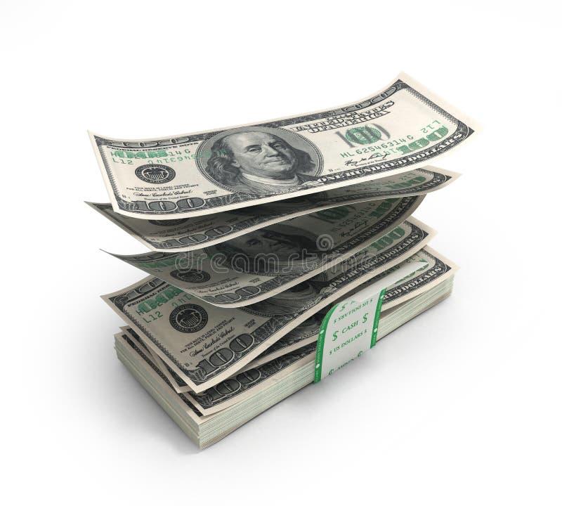 3d illustratie van dollarrekeningen die uit de stapel met t vliegen stock illustratie