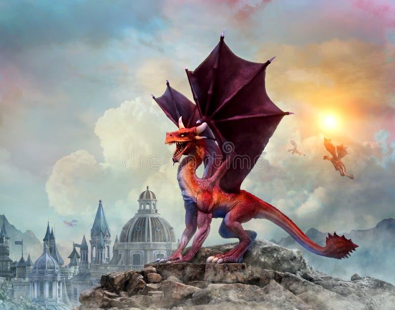 3D illustratie van Dragon Scene royalty-vrije illustratie
