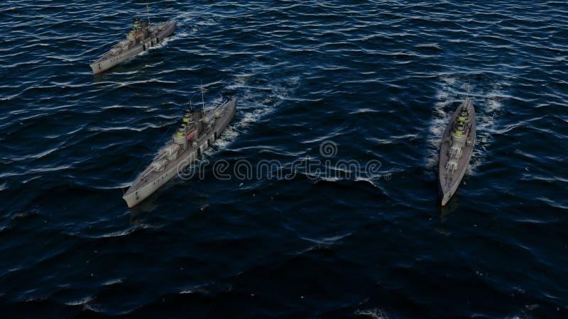 3d illustratie van drie oorlogsschepen in een vorming van de slaggroep op zee stock illustratie