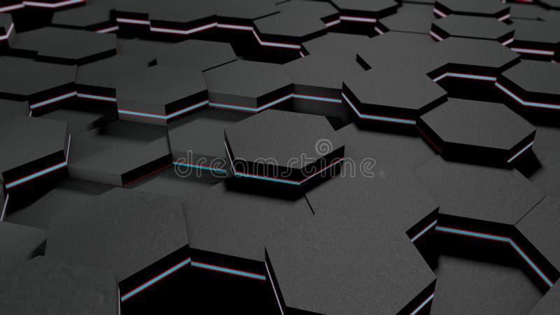 3D illustratie van een achtergrond van vele zwarte zeshoeken en blauwe bal, gebied Het idee van zaken, rijkdom en welvaart, a vector illustratie