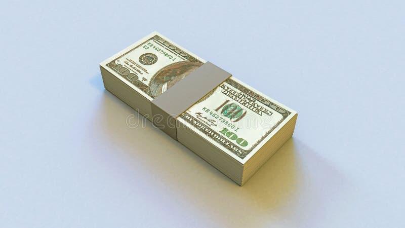3D illustratie van een dek van geld 100 dollars stock foto's