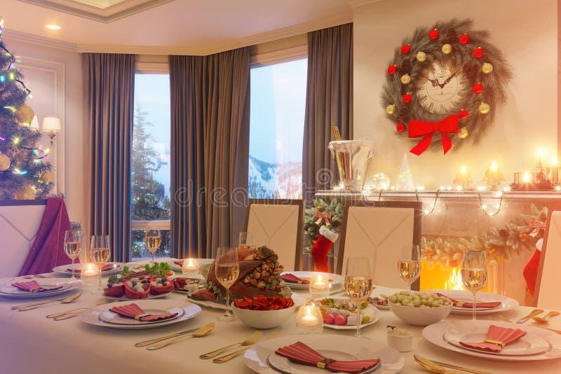 3d illustratie van een het dinerlijst van de Kerstmisfamilie Een beeld voor royalty-vrije illustratie