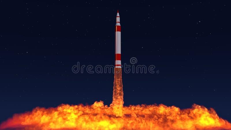 3D Illustratie van een intercontinentaal ballistisch projectiel stock illustratie