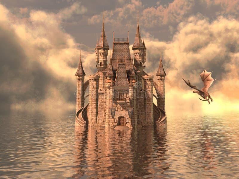 3D Illustratie van een Kasteel op het Water en de Draak stock afbeelding