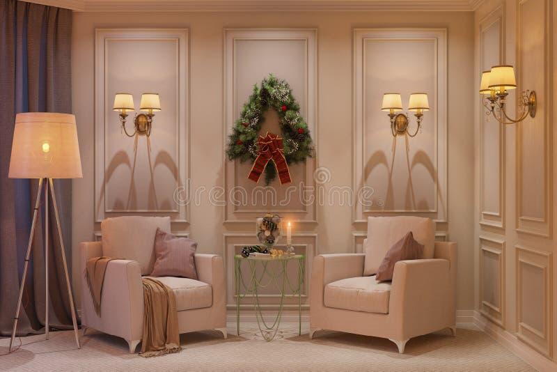 3d illustratie van een Kerstmisbinnenland Binnenlands ontwerp in klassieke stijl met twee leunstoelen vector illustratie
