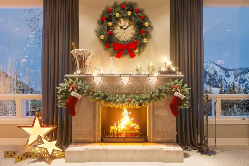 3d illustratie van een Kerstmisbinnenland met een open haard en giften Een beeld voor een prentbriefkaar of een affiche vector illustratie