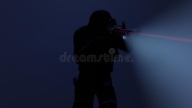 3d illustratie van een mepambtenaar in actie met het flitslicht en het lasergezicht  royalty-vrije illustratie