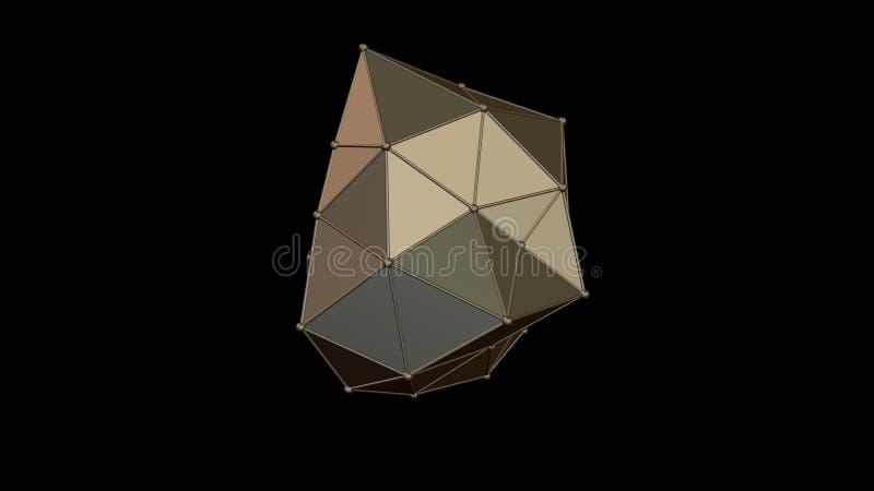 3D illustratie van een metaal roze die kristal van platina, onregelmatige vorm, laag veelhoekig abstract cijfer, op een zwarte ac vector illustratie