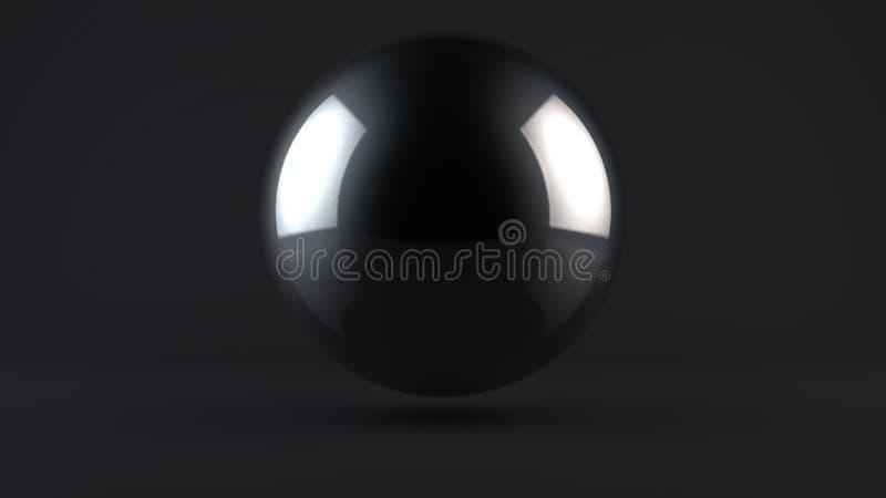 3D illustratie van een metaalbal in een donkere Studio Een bal van chroom, titanium, platina of zilver Abstractie, het 3D terugge royalty-vrije illustratie
