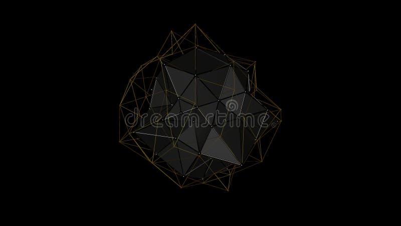 3D illustratie van een metaalkristal van onregelmatige vorm, laag veelhoekig abstract cijfer, op een zwarte achtergrond Futuristi stock illustratie