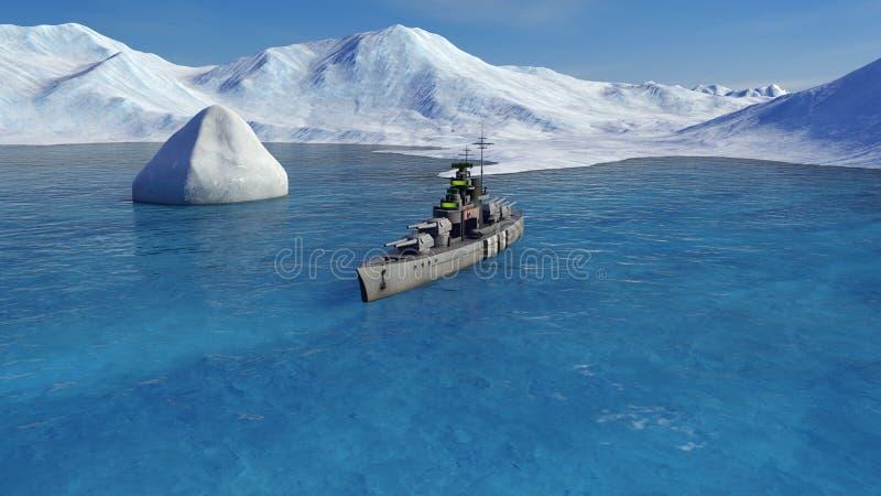 3d illustratie van een slagschip in de Noordpooloceaan vector illustratie