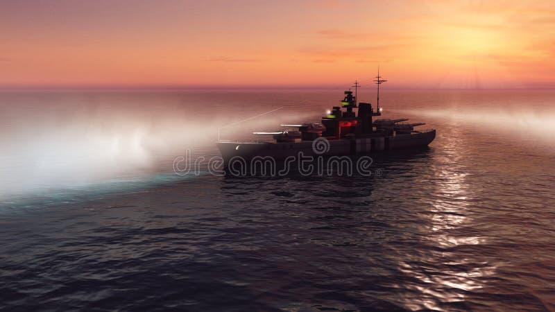 3d illustratie van een slagschip in de open oceaan bij zonsondergang vector illustratie