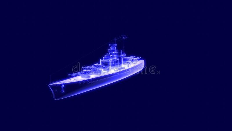 3d illustratie van een slagschiphologram stock illustratie