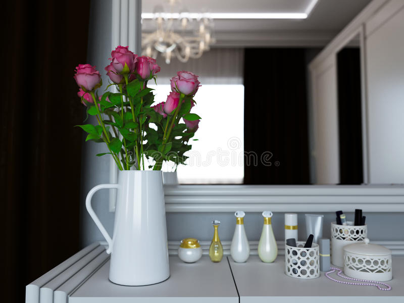 3D illustratie van een vaas met rozen op een schoonheidsmiddel weinig lijst vector illustratie
