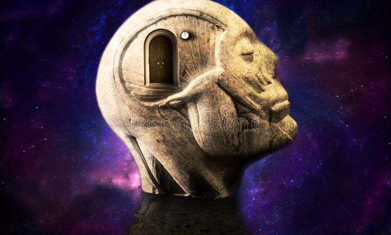 3d Illustratie van een Vlotte Galactische Abstracte Menselijke Hoofdstructuur met een Gesloten Deur die tot Een andere Afmeting l royalty-vrije illustratie