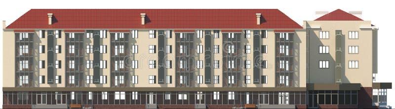 3D illustratie van een voorgevel van een gewoond in flatgebouw in beige kleur vector illustratie