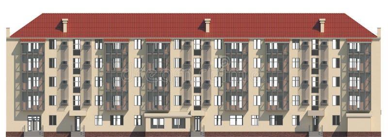 3D illustratie van een voorgevel van een gewoond in flatgebouw in beige kleur royalty-vrije illustratie