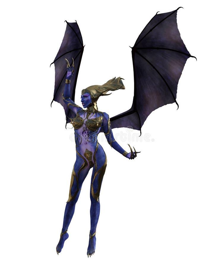 3D Illustratie van een vrouwelijke duivel met vleugels en blauwe huid royalty-vrije illustratie