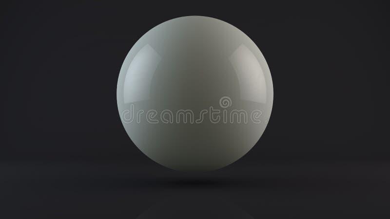 3D illustratie van een wit, melkbal, dalingen in een donkere Studio Een daling van witmetaal of melk Abstractie, het 3D teruggeve stock illustratie