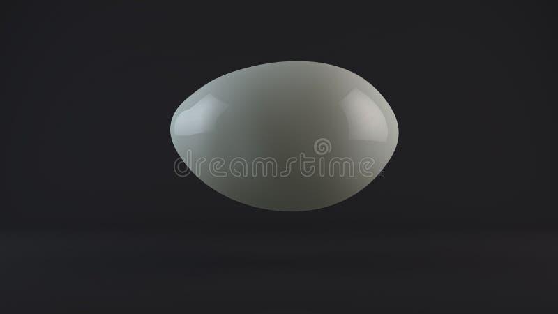 3D illustratie van een wit, melkbal, dalingen in een donkere Studio Een daling van witmetaal of melk Abstractie, het 3D teruggeve royalty-vrije illustratie