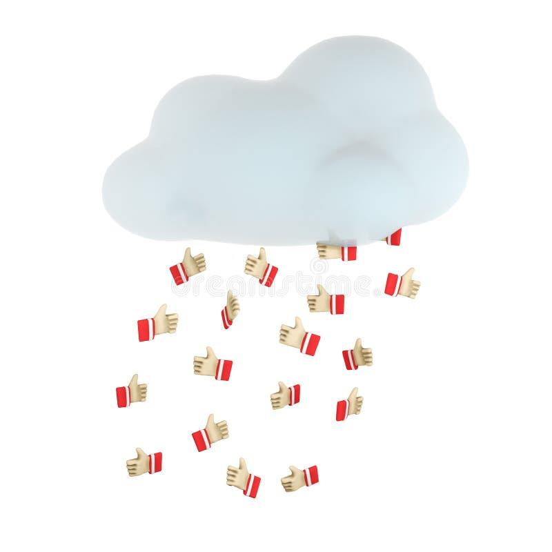 3d illustratie van een wolk het gieten rood 'houdt van ' stock illustratie