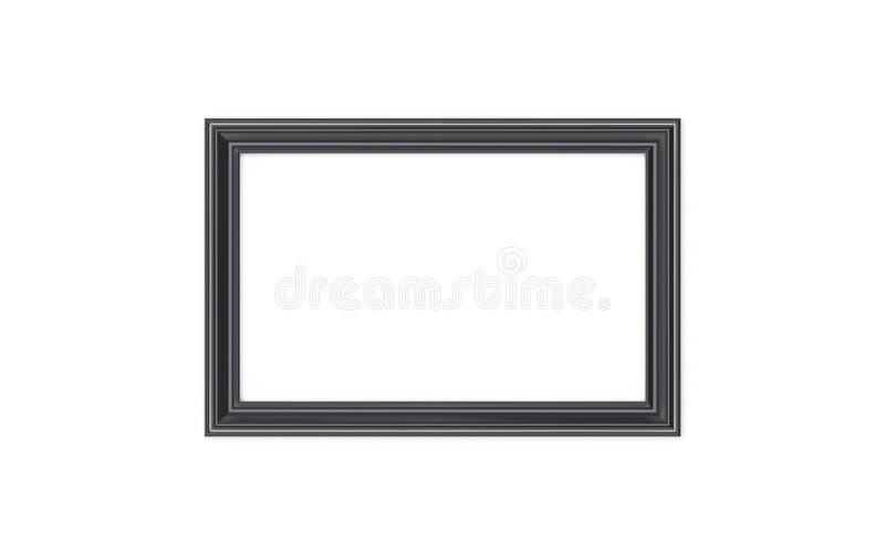 3d illustratie van een zwarte rechthoekige omlijsting op witte achtergrond royalty-vrije illustratie