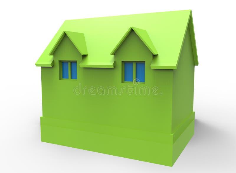 3d illustratie van eenvoudig huis met venster stock illustratie