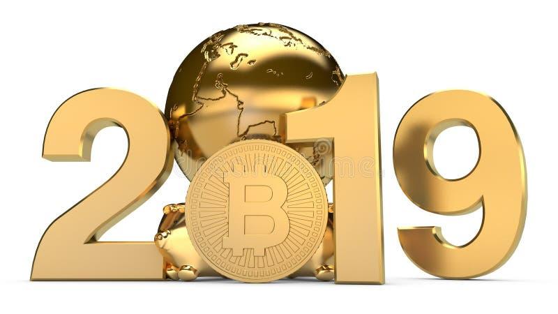 3D illustratie van 2019 en de Gouden aarde met de muntstukken van bitcoincryptocurrency Het idee voor de kalender, een symbool va stock illustratie